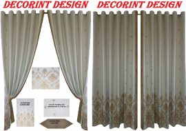 Set 2 draperii DECORINT pe inele capse + 1 cuvertura + 2 fete de pernuta + 1 napron masa (COD:DCC.01)
